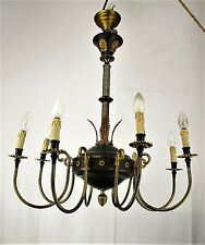 XL Vintage French Empire Chandelier 6 Arms Lights Green Shade Pineapple Tole