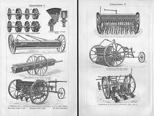 SÄMASCHINEN Breitsämaschine Drillen Drillmaschine Saemaschine  Holzstich v. 1908