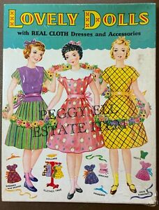 """1952 SAALFIELD """"LOVELY DOLLS WITH REAL CLOTH CLOTHES"""" #6044 ORIGINAL SET 3 DOLLS"""