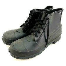 Unbranded Mens Rubber Boots Steel Toe USA-Made Lace-Up Size 12 Black Ankle