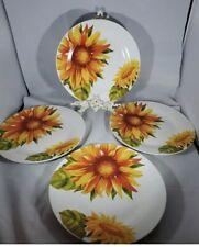 New Royal Norfolk Greenbrier Sunflower Dinner Plates Set of 4 Autumn Fall Rustic