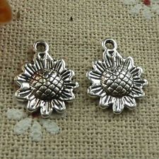 Free Ship 200 pieces tibetan silver sunflower charms 16x12mm #1750