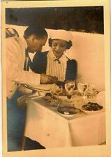 Vintage Antique Photograph Woman Having Dinner in A French Restaurant