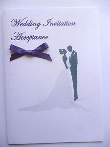 Wedding Acceptance/Decline card - silhouette Bride & Groom A6 + Envelope