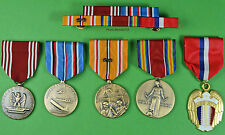 5 WWII Army Medals & Ribbon Bar for Service in the Pacific - Philippines WW2