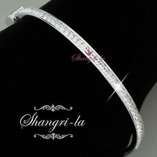 9K 9CT White GOLD GF Wedding BANGLE Princess CUT SWAROVSKI LAB Diamond F620