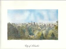 VINTAGE ART PRINT OF EARLY PICTURESQUE AMERICA - 1874 - CITY OF MILWAUKEE