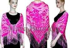 Piano Shawl Wrap Scarf Frige Silk Burnout Velvet Candy Pink Maya Matazaro