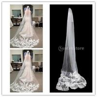 Charming Cathedral Length Lace Edge 3M Long Wedding Bridal Veil with Comb Church