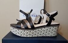 Womens Cole Haan Shoes Size 10.5 Jianna Wedge Sandal Black Leather NWT