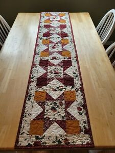 Handmade quilted table runner multicolored earth tones star design