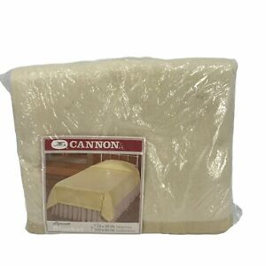 Cannon Plymouth Blanket Twin Full Size Beige Polyester Satin Binding 72 x 90
