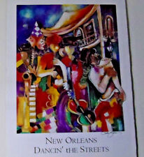 Rare! Jeni Genter Painting Poster/ New Orleans Dancin' the Streets /VG+/Signed!