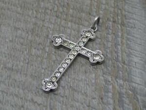Antique French Sterling Silver Paste Set Cross Pendant c1900,4cm x 2.5cm