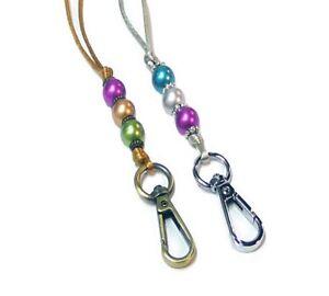 Cord Necklace Lanyard, keys, ID badge holder adjustable length pearl rainbow