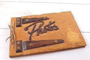 Vintage Wooden Photo Album Scrapbook Souvenir Tampa Florida Black Pages Unused