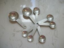 2 sets vintage aluminum measuring spoons with 1 ring