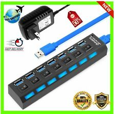 High Speed 4/7 Port Usb 3.0 Hub 5gbps On/off Switches Ac Power Adapter For Pc Td
