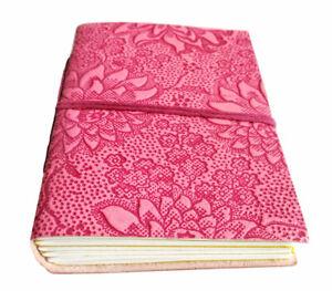 LEDERBUCH Tagebuch liniert 13x9cm Notizbuch Blumenmuster Echt-Leder Kladde pink