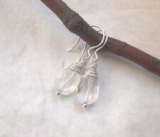 Bergkristall Tropfen Ohrringe 925 Silber, Ohrhänger klar facettiert 925er f211