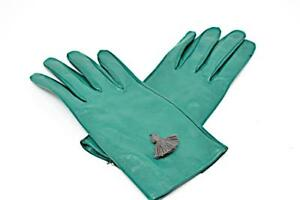 MIA ZIA Emerald Green 100% Lambskin Wrist GLOVES Tassel Detail  Sz 7 Silk Lining