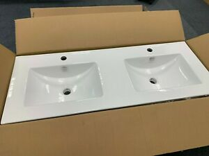 His n hers White Twin Bowl Porcelain Basin 1210mm x 470mm. Semi Recessed.