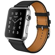 NinePeaks Genuine Leather Band for Apple Watch (Black)