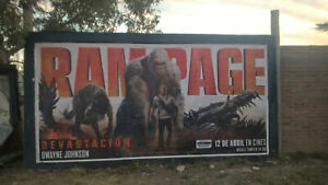 Original huge RAMPAGE billboard movie poster - Dwayne THE ROCK Johnson Giant ape