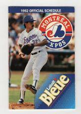 1992 MONTREAL EXPOS POCKET SCHEDULE MLB Baseball Labatt Beer