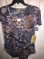 One World Live And Let Live Womens Blouse Purple Floral Scoop Neck Studded S New