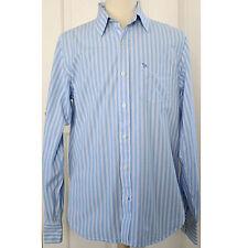Abercrombie & Fitch Blue Striped Sz XL Long-Sleeve Button-Front 100% Cotton