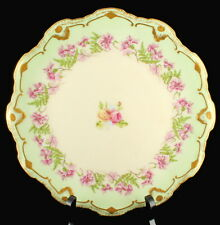 Antique Limoges Hp Scalloped Wall Cabinet Plate Peonies Green Purple Pink Gilt