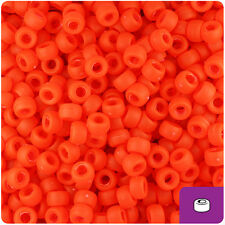 1000 Fire Red Frosted 7mm Mini Barrel Plastic Pony Beads Made in the USA