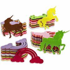 100 Pcs Felt Rainbow Unicorn Shape Cutouts for Diy Crafts Decorations, 4 Designs