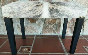 New Cowhide Bench Ottoman - Pouf Footstools - hair on - Light BRINDLE - TEXAS