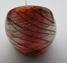 Style Glass Ring. Uk.S. Us.9. (42!) A Silver Over Deep Orange Murano