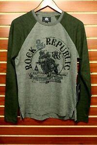 Men's Rock & Republic Slim Fit Long Sleeve Motorcycle Graphic T-shirt Gray $36