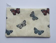 Vintage Floral Butterfly Fabric Handmade Zippy Coin Purse Storage Pouch