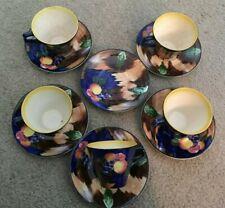 H&K Tunstall Hollinshead & Kirkham Pottery Autumn Art Deco Cups & Saucers