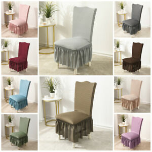 1PC Rhombus Jacquard Stretch Chair Covers Dining Room Elastic Covers With Skirt