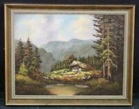 Quadro Antico di Olio su tela Paesaggio firmata Fattoria nella Foresta Nera XIX