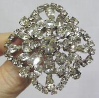 Vintage Jewelry LARGE Rhinestone Brooch Total Elegance and Sparkle ! 1950s