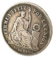 1866 Peru -  1/5 Sol 1866 YB - Silver - High Grade Circulated Coin. KM191  #1