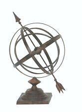 Iron metal Garden Arrow Armillary Sphere Sundial Rustic Antiqued Bronze