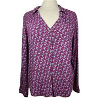 Maeve Blouse 14 Womens Pink Blue Button Front Floral Multicolor Anthropologie
