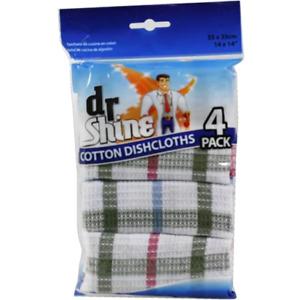Dr Shine Cotton Dish Cloths 4 pack Dishcloth Towels Kitchen Linen 35x35cm