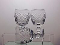 "DERWENT CRYSTAL LEAD CLEAR CUT GLASS 7 Oz WINE GLASSES SET OF 3 - 4 1/2""TALL"