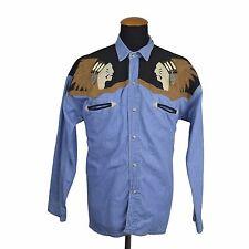 """VINTAGE RIVERGOLD Western Denim Camicia Uomo L Blu Pearl Snap 24 """"Indiano sul petto"""