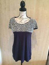 BNWT Ladies Navy Blue Pearl Embellished Short Sleeved T Shirt Type Top Size 12.