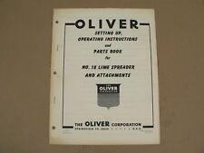 Oliver Tractors No 18 Lime Spreader Amp Attachments Owneroperators Manual Vtg